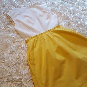 GAP white and yellow boat-neck midi dress